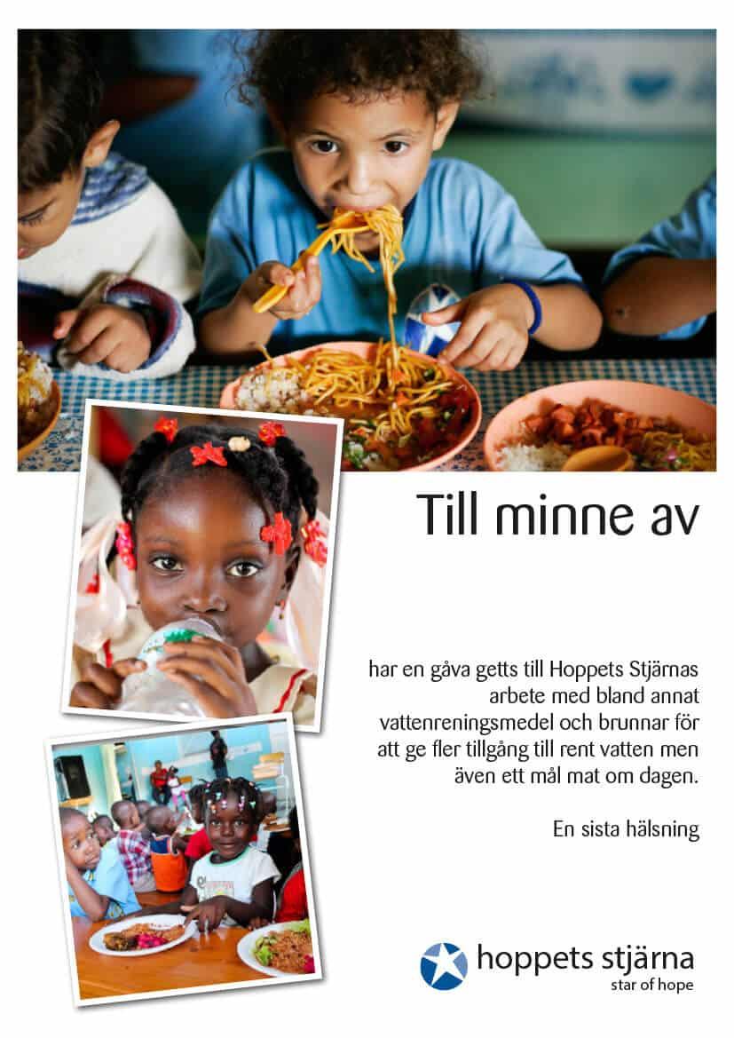 Minnestelegram mat och vatten